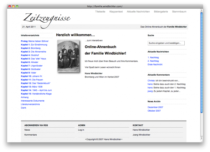 2007 – heute (familie.windbichler.com)